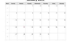Download January 2019 Blank Calendar Horizontal