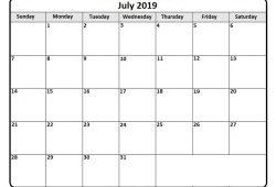 Calendar July 2019 Editable
