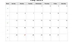 Download May 2019 Blank Calendar Horizontal