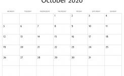 Download October 2020 Calendar Blank Editable