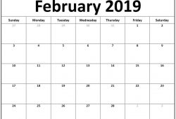 January February 2019 Calendar Printable