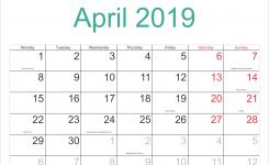 Editable April 2019 Calendar With Holidays Free Printable Calendar
