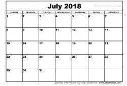 July 2018 Calendar To Print