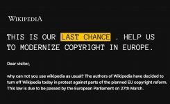 European Wikipedias Have Been Turned Off For The Day To Protest