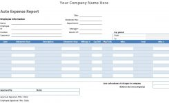 Exceptional And Blank Auto Expense Report Template And Form Example
