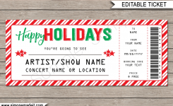 Fake Concert Ticket Printable Template Surprise Tickets To A Concert