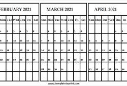 Feb to Apr 2021 Calendar Blank Template