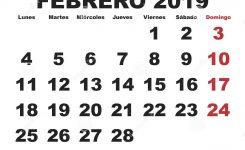 Febrero 2019 Wall Calendar Spanish Stock Vector Illustration Of