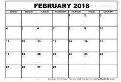 February 2018 Monthly Calendar Pdf Jpg
