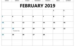 February 2019 Calendar With Holidays Printable Country Wise