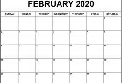 Feb Calendar 2020 Printable