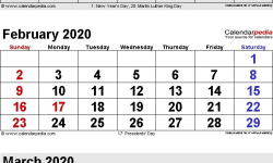 2020 January February March Calendar