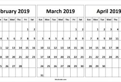 February March And April 2019 Calendar
