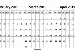 February March April 2019 Calendar