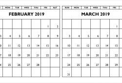Calendar 2019 February March