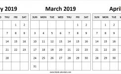 February To April 2019 Calendar 3 Print Blank Calendar Template