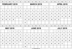 February To July 2019 Calendar