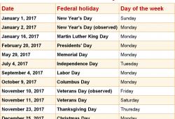 National Holiday Calendar
