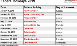 Feb 2019 Government Holidays
