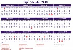 Free Calendar 2018 Fiji Printable