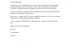 Application Follow Up Email Example