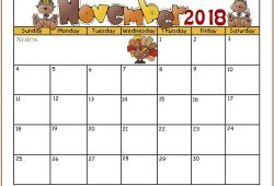 Free Kids Printable 2018 November Calendar