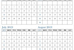 May June July August 2019 Calendar With Notes
