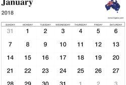 Free 2018 Calendar Templates Australia