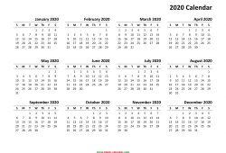 Calendar 2020 Printable Yearly
