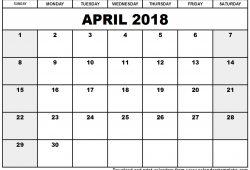 April 2018 Calendar Template Printable