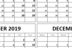 October December 2019 Calendar Notes