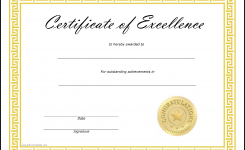 Free Certificate Of Excellence Templates At Allbusinesstemplates