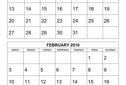 Printable Free Calendar 2019