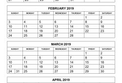 Printable Calendar April 2019 With Holidays 1 Month On 1 Page