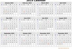 Printable 2019 Calendar Free