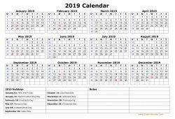 2019 printable calendar with holidays