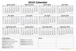 2019 Printable Calendar With Us Holidays