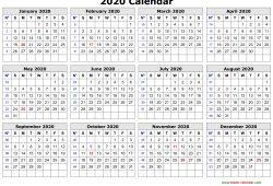 2020 One Page Printable Calendar