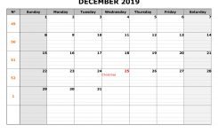 Free Download Printable December 2019 Calendar Large Box Grid