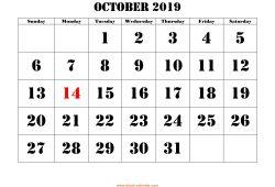 October 2019 Calendar With Holidays Printable