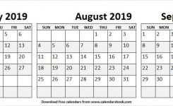 Free Jul Aug Sep Calendar 2019 Template Printable Template