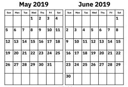 May To June 2019 Calendar Template