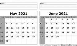 Free May June 2021 Calendar