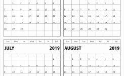 Free Printable 2019 4 Months Per Page Calendar Download July 2018