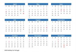 Calendar 2021 Portugal Holidays