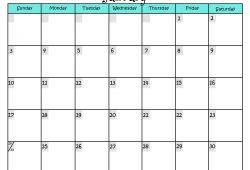 8 5 X 11 Printable Calendar