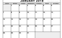Free Printable January Calendar 2018 Fastlunchrockco