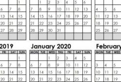 September 2019 To February 2020 Calendar Printable