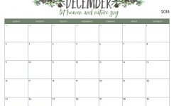 Free Template 2018 December Calendar Pdfexcelword Download