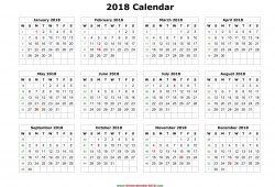 2018 Year Calendar Pdf Free Download